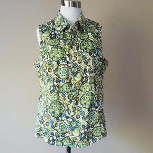 Blouse Floral Green Blue Size 16 Large